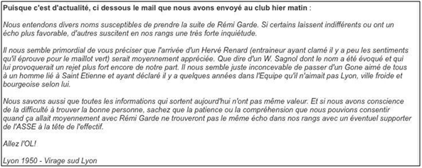 Message des Supporters de l'OL
