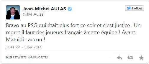 JM Aulas regrette le peu de joueurs français au PSG