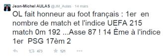 Tweet de Jean-Michel AULAS